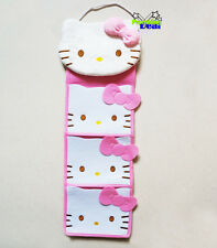 Cute Hello Kitty Plush Door Hanger Hanging 3 Pockets Storage Organizer Bag Pink