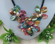 """Handmade Freshwater Pearl m Sea Shell Multi-Color Flower Leather Necklace 18"""""""