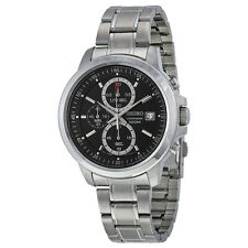 Seiko Chronograph Black Dial Stainless Steel Mens Watch SKS445