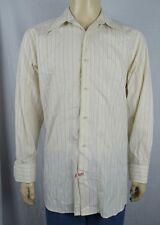 Claiborne Yellow Striped L/S Dress Shirt Men's Sz Lg Sewn Accents 100% Cotton