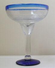 HAND-MADE ARTISAN Cobalt Blue HIGH STEM MARGARITA GLASS - Rare