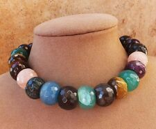 THICK GENUINE JADE GEMS  NECKLACE GREEN BLACK purple pink blue JEWERLY FACETED