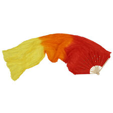 1.8m Hand Made Colorful Belly Dance Dancing Silk Bamboo Long Fans Veils AD