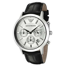NEW Emporio Armani AR2432 Classic Silver Dial Black Leather Mens Watch
