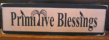 Primitive Blessings with Crows Primitive Rustic Wooden Sign Block Shelf Sitter