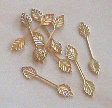 20 medium (29mm) gold plated leaf bails, findings for jewellery making crafts