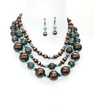 Antique Copper and Turquoise Cat Eye Look FASHION Necklace Set