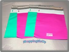 100 HOT PINK and TEAL  9x12 Flat Poly Mailer Envelopes, Self Seal USPS Shipping