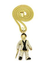 """NEW ICED OUT BAD GUY WITH A GUN PENDANT 6mm/30"""" CUBAN CHAIN NECKLACE CP196G"""