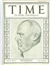 MAGAZINE TIME  ERICH VON  LUDENDORFF  NOVEMBER 19  1923