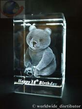 LASER CRYSTAL PAPERWEIGHT HAPPY 18th BIRTHDAY BEAR 3571 PRESENTATION BOXED