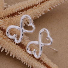 925 Sterling Silver Plated Hollow INFINITY LOVE HEART Butterfly Stud Earrings