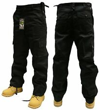 "34"" INCH WAIST BLACK ARMY CARGO COMBAT SECURITY WORK TROUSERS PANTS"
