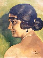 Ewald Becker-Carus 1902-1995 Hambourg/peinture portrait d'une élégante dame 1928