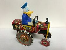 Donald Duck ~ Disney Marx Toys Tin Wind Up Dipsy Car ~ Vintage 1950s