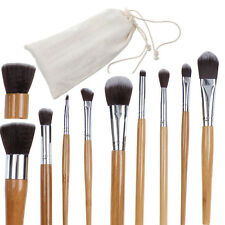 Pro 11PCS Luxury Bamboo Wooden Make Up Brush Set Tool Kit With Pouch Ec-Friendly