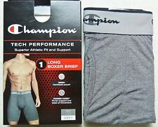 "Champion Men's Long Boxer Brief S M L Black Grey Athletic Fit Long 9"" inches New"