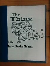 Volkswagen The Thing VW Type 181 BN4 Heater Service Manual Thing Shop pt# 181HSM