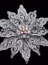 AB SILVER RHINESTONE CHRISTMAS TREE POINSETTIA FLOWER PIN BROOCH JEWELRY 2.75""