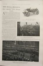 1902 PRINT ~ THE ROYAL PROGRESS THROUGH LONDON STATE LANDAU NAVAL ST JAMES'S
