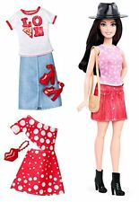 Barbie Fashionista Petite Dark-Haired Doll with 2 Additional Outfits