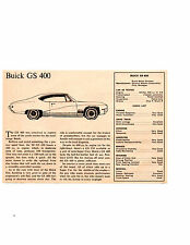 1968 BUICK GS 400/340 HP ~ ORIGINAL SMALLER ROAD TEST / ARTICLE / AD
