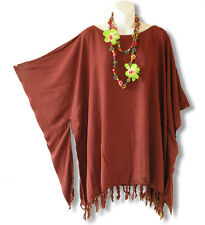 Solid Brown Kimono Plus Size Caftan Kaftan Tunic Blouse Top - XL, 1X, 2X & 3X