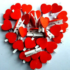 20pcs Red Wooden Pegs Heart Photo Clips Room Party Wedding Table Decor bai