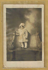 Carte Photo vintage card RPPC enfant manteau bonnet mode fashion pz0133