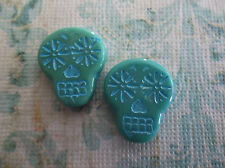 Sugar Skull Beads - Turquoise with Blue - Pressed Glass - 20x17mm - Qty 6