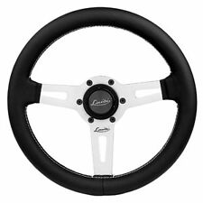 "LEATHER STEERING WHEEL BLACK 340mm 13.4"" LUISI ""SHARAV 340 BLACK"" BRAND NEW"