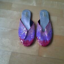 Gorgeous sparkly mules, size 37 red/purple sequins. Leather sole fabric lined.