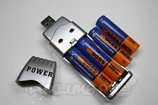 "4 PILES ACCUS RECHARGEABLE AA LR06 1.2V 4800mAh Ni-Mh + CHARGEUR USB "" POWER """
