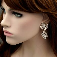 18K Gold Plated Pearl Clear Crystal Rhinestone Wedding Drop Dangle Earrings 8885