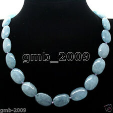 "13x18mm Natural Blue Aquamarine Gemstone Oval Beads Necklace 18""AAA"