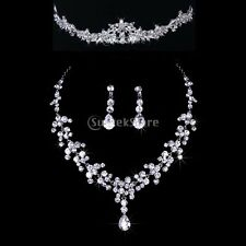 Bridal Bridesmaid Wedding Jewelry Set Crystal Rhinestone Tiara Necklace Earrings