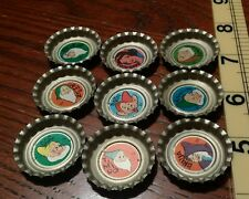 Vtg Disney Pepsi Bottle Caps Mexico Snow White 7 Dwarfs Dopey Grumpy Unused