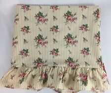 Ralph Lauren Sophie Brooke floral yellow stripe Twin Flat Sheet Roses USA Made
