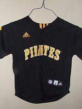 Adidas Youth Med 5/6 Pittsburgh Pirates Baseball Jersey Black Yellow Button Up