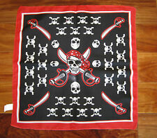 1 NEW PIRATE BANDANA SKULL AND CROSSBONES JOLLY ROGER HANDKERCHIEF PARTY FAVOR