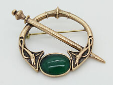 IRISH BRONZE CELTIC BROOCH PIN WITH GREEN STONE, KILT PIN, TWO DOGS AND SWORD