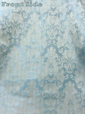 "FATIGUE BLUE FAUX SILK DAMASK JACQUARD 56""W FABRIC UPHOLSTERY DRAPE TABLECLOTH"