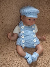 Handmade Crochet Outfit Clothes For 10 inch OOAK Baby or Preemie Reborn Doll