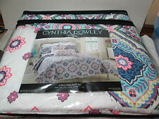 New Cynthia Rowley Morrocan Tile King Quilt & Shams ~ Blue, Pink, Lime, Navy