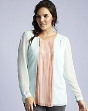 Simply Be Size 14 16 Pale Menthol Apricot Long Sleeve Pleated Blouse TOP