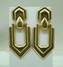 Large Stylish Pair Of 18ct Gold Designer Dropper Earrings