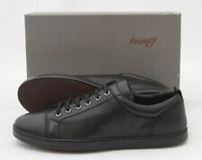 Mens BRIONI Black Smooth Leather Cap-Toe Lace Up Sneakers Shoes US 8 D NIB
