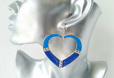 LARGE royal blue & gold tone heart shaped big hoop drop / dangly earrings