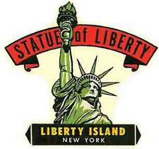 New York City  Statue Of Liberty Island   NY   Vintage Style 1950's Travel Decal
