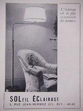 PUBLICITÉ 1950 SOLEIL ÉCLAIRAGE LAMPADAIRE - ADVERTISING